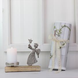 Stående Engel med Lysholder - sølv , hemmetshjarta.no
