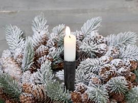 Lysholder for kirkelys med spyd H14,5 / Ø4 cm antikk svart , hemmetshjarta.no