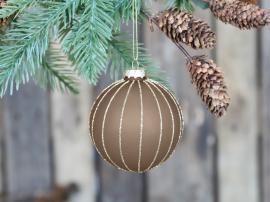 Julekule med gullbånd Ø8 cm karamell 4-pack , hemmetshjarta.no