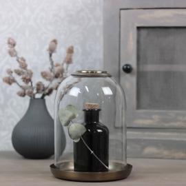Glasklocka med mässingsfat H21 / Ø16 cm , hemmetshjarta.no