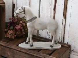 Gammel Fransk Hest H39 / L39 / W11,5 cm antikk krem , hemmetshjarta.no