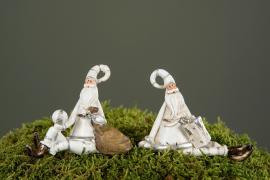 Julenisse/Stick Hvit med sekk Poly 10cm 2-pack , hemmetshjarta.no