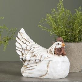 Høne/Skål 23 cm - antikkhvit , hemmetshjarta.no