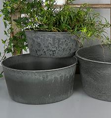 Hardplast Grå Krukke/Blume 23x19x10cm , hemmetshjarta.no